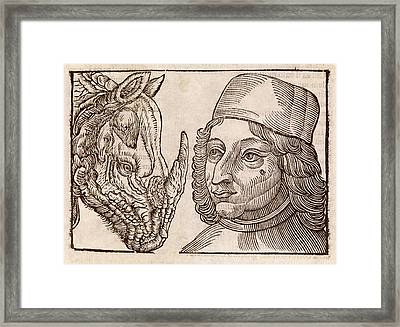 Man And Rhino's Head Framed Print by Middle Temple Library