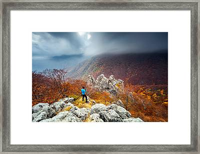 Man And The Mountain Framed Print by Evgeni Dinev