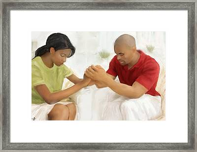 Framed Print featuring the painting Man And Wife Pray by Vannetta Ferguson