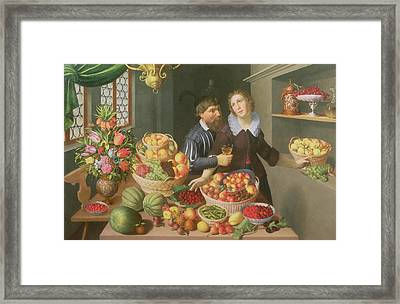 Man And Woman Before A Table Laid With Fruits And Vegetables Framed Print by Georg Flegel