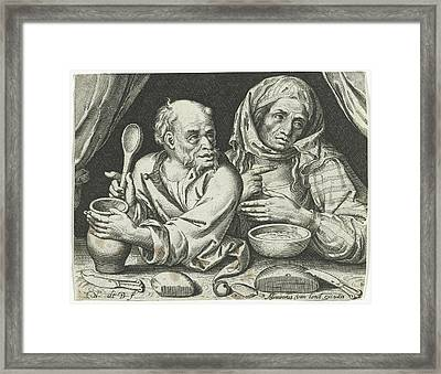 Man And Woman Eating Porridge, Nicolaes De Bruyn Framed Print by Nicolaes De Bruyn And Assuerus Van Londerseel