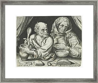 Man And Woman Eating Porridge, Nicolaes De Bruyn Framed Print by Nicolaes De Bruyn And Assuerus Van Londerseel