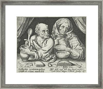 Man And Woman Eating Porridge, Nicolaes De Bruyn Framed Print by Nicolaes De Bruyn And Claes Jansz. Visscher (ii)
