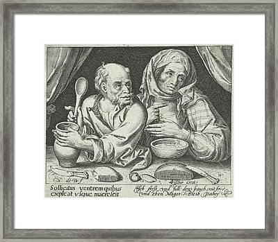 Man And Woman Eating Porridge, Nicolaes De Bruyn Framed Print by Nicolaes De Bruyn And Claes Jansz. Visscher (ii)
