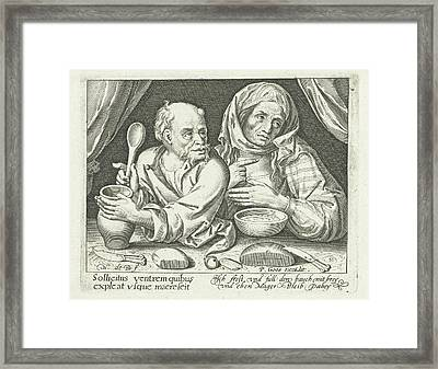 Man And Woman Eating Porridge, Nicolaes De Bruyn Framed Print by Nicolaes De Bruyn And Pieter Goos