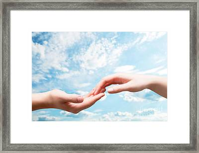 Man And Woman Hands Touch In Gentle Soft Way Framed Print by Michal Bednarek
