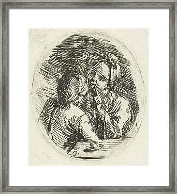 Man And Woman In Conversation, Louis Bernard Coclers Framed Print by Louis Bernard Coclers