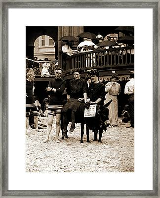 Man And Women Posed On Donkey For Photo At Crowded Beach Framed Print by Litz Collection