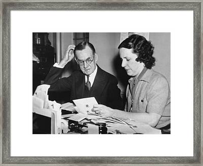 Man Assisted By His Secretary Framed Print by Underwood Archives