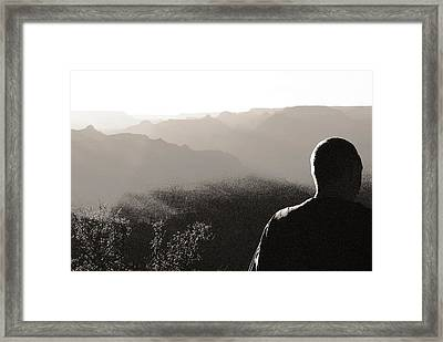 Framed Print featuring the photograph Man At Grand Canyon by Arkady Kunysz