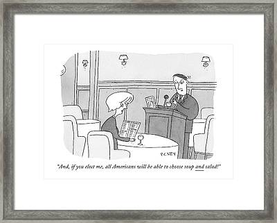 Man At Podium Speaks To Woman Seated Framed Print