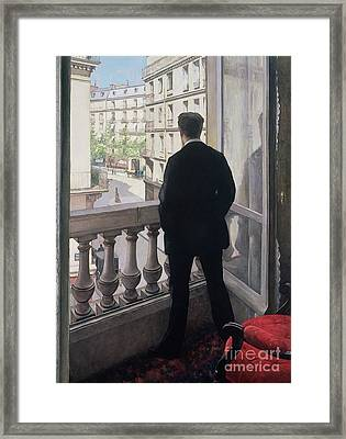 Man At The Window Framed Print