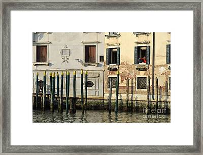 Man At Window By Piers In Venice Framed Print by Sami Sarkis