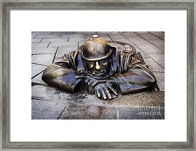 Man At Work In Bratislava Framed Print by Jelena Jovanovic