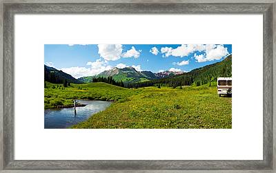Man Camping Along Slate River, Crested Framed Print by Panoramic Images