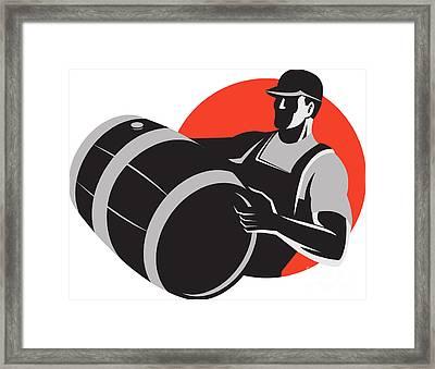 Man Carrying Wine Barrel Cask Keg Retro Framed Print by Aloysius Patrimonio