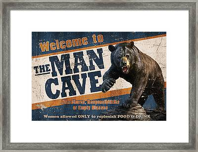 Man Cave Balck Bear Framed Print by JQ Licensing