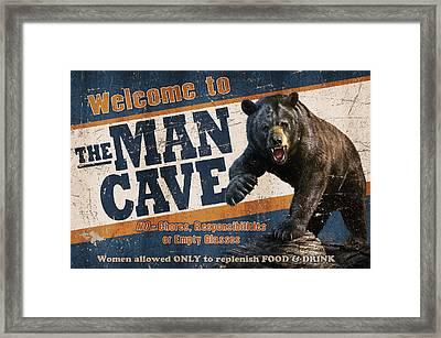 Man Cave Balck Bear Framed Print