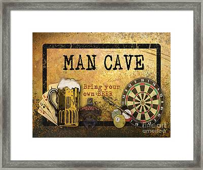 Man Cave-bring Your Own Beer Framed Print by Jean Plout