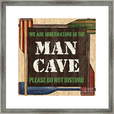 Man Cave Do Not Disturb Framed Print by Debbie DeWitt
