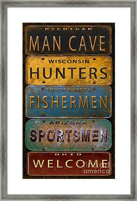 Man Cave-license Plate Art Framed Print by Jean Plout