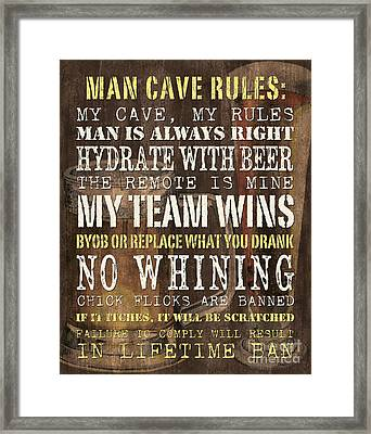 Man Cave Rules 2 Framed Print