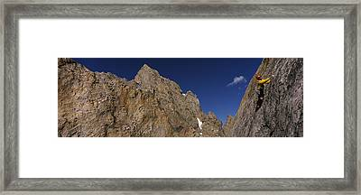 Man Climbing Up A Mountain, Grand Framed Print by Panoramic Images