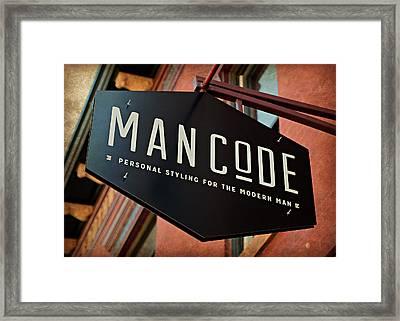 Man Code Framed Print