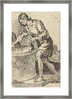 Man Counting Money, Print Maker Jan De Bisschop Framed Print by Jan De Bisschop