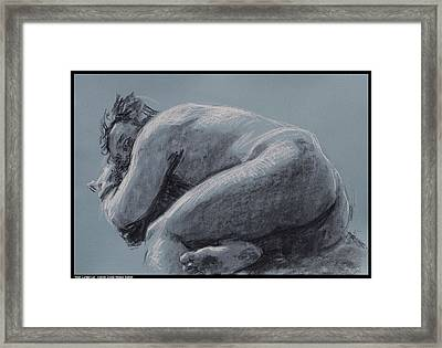 Man Curled Up Framed Print by Diana Moses Botkin