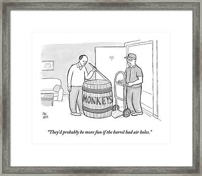 Man Delivers A Barrel Of Monkeys Framed Print by Paul Noth