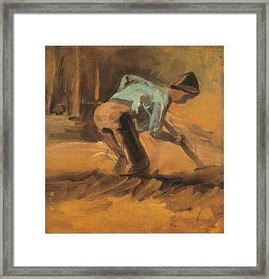 Man Digging Framed Print by Vincent van Gogh