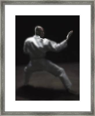 Man Doing Martial Arts Framed Print by Darren Greenwood