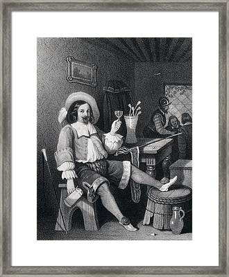 Man Drinking Wine, Wine Glass, Jug, Hat, Walking Stick Framed Print by English School