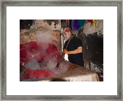 Man Dyeing Wool In The Souk, Marrakesh Framed Print by Panoramic Images