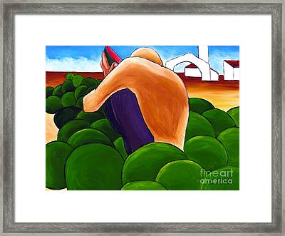 Man Eating Melon Framed Print by William Cain