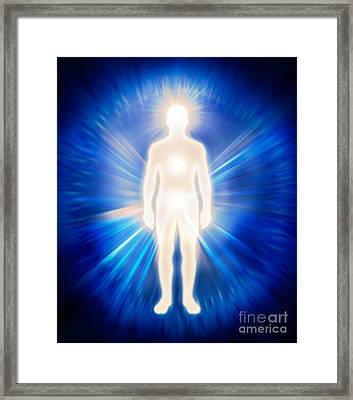Man Ethereal Body Energy Emanations Concept Framed Print