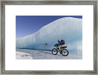 Man Fat Tire Mountain Biking On Ice At Framed Print by Joe Stock