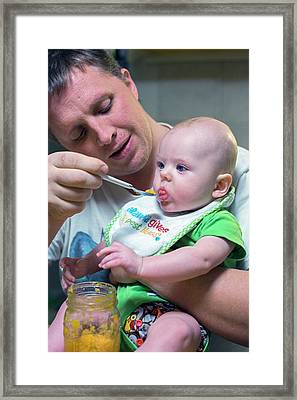 Man Feeding A Baby Framed Print by Jim West
