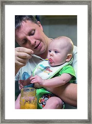 Man Feeding A Baby Framed Print