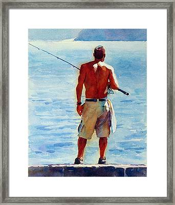 Man, Fishing Framed Print by Graham Berry