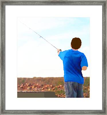 Man Fishing Framed Print by Marian Cates