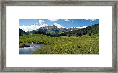 Man Fly-fishing In Slate River, Crested Framed Print by Panoramic Images