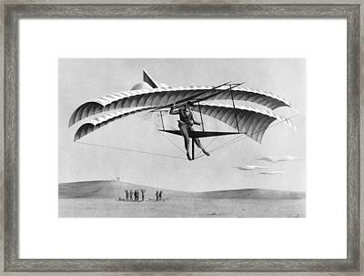 Man Gliding In 1883 Framed Print by Underwood Archives