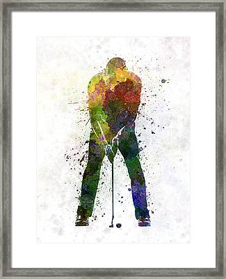 Man Golfer Putting Silhouette Framed Print by Pablo Romero