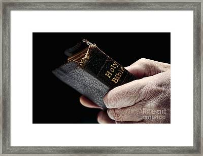 Man Hands Holding Old Bible Framed Print