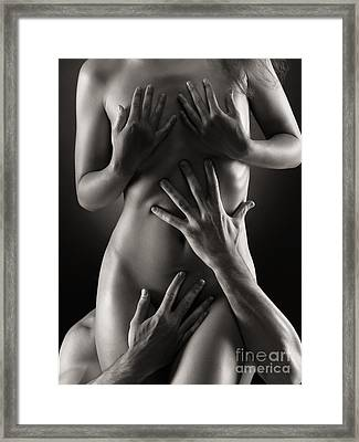 Man Hands On Nude Woman Body Black And White Framed Print