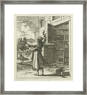 Man Has Left His Study To See Beyond The Sky Framed Print by Jan Luyken And Wed. Pieter Arentsz (ii)