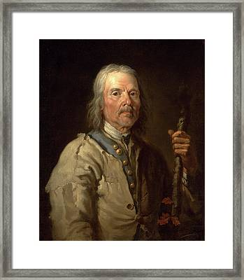 Man Holding A Staff Old Man With Staff, Thomas Barker Framed Print by Litz Collection