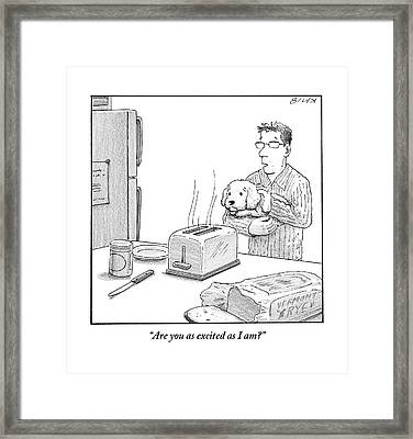 Man, Holding Dog, Speaks To Dog As Both Watch Framed Print